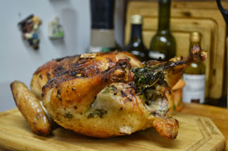 A finished roasted chicken