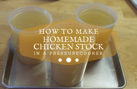 Ultimate Chicken stock made in no time with a pressure cooker. This will give you plenty of Chicken stock to store in your freezer. Yes, it freezes beautifully. Just think on a cold damp night pulling out a quart or two of you homemade stock,