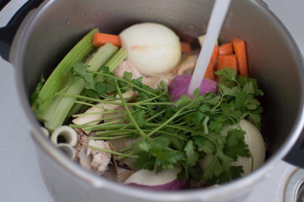 Ingredients in pot